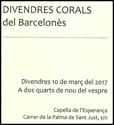 Divendres corals del Barcelonès (2017)